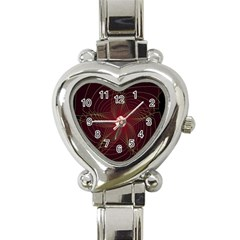 Fractal Red Star Isolated On Black Background Heart Italian Charm Watch