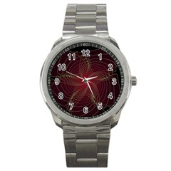 Fractal Red Star Isolated On Black Background Sport Metal Watch