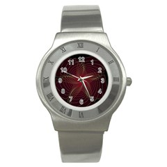 Fractal Red Star Isolated On Black Background Stainless Steel Watch