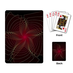Fractal Red Star Isolated On Black Background Playing Card