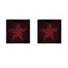 Fractal Red Star Isolated On Black Background Cufflinks (square)