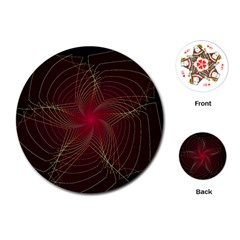 Fractal Red Star Isolated On Black Background Playing Cards (round)