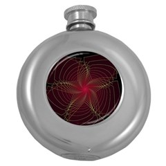 Fractal Red Star Isolated On Black Background Round Hip Flask (5 Oz)