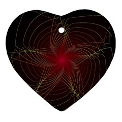 Fractal Red Star Isolated On Black Background Heart Ornament (two Sides)
