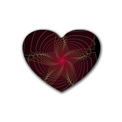 Fractal Red Star Isolated On Black Background Heart Coaster (4 Pack)