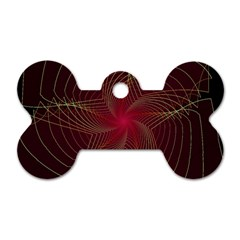 Fractal Red Star Isolated On Black Background Dog Tag Bone (One Side)
