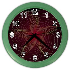 Fractal Red Star Isolated On Black Background Color Wall Clocks