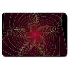 Fractal Red Star Isolated On Black Background Large Doormat