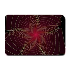 Fractal Red Star Isolated On Black Background Plate Mats