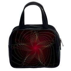 Fractal Red Star Isolated On Black Background Classic Handbags (2 Sides)