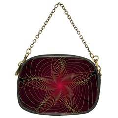 Fractal Red Star Isolated On Black Background Chain Purses (one Side)