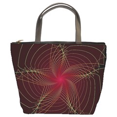 Fractal Red Star Isolated On Black Background Bucket Bags