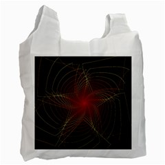Fractal Red Star Isolated On Black Background Recycle Bag (one Side)