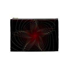 Fractal Red Star Isolated On Black Background Cosmetic Bag (medium)