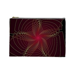 Fractal Red Star Isolated On Black Background Cosmetic Bag (Large)