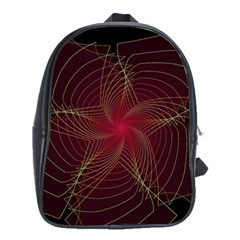 Fractal Red Star Isolated On Black Background School Bags(large)