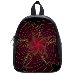Fractal Red Star Isolated On Black Background School Bags (small)