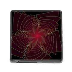 Fractal Red Star Isolated On Black Background Memory Card Reader (square)
