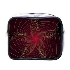 Fractal Red Star Isolated On Black Background Mini Toiletries Bags