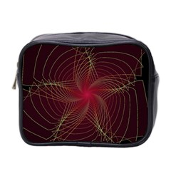 Fractal Red Star Isolated On Black Background Mini Toiletries Bag 2 Side
