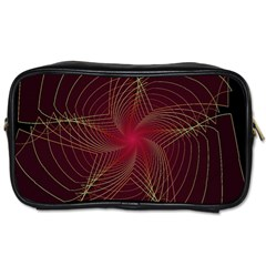 Fractal Red Star Isolated On Black Background Toiletries Bags