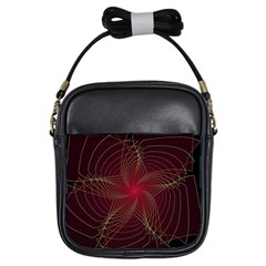 Fractal Red Star Isolated On Black Background Girls Sling Bags