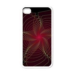 Fractal Red Star Isolated On Black Background Apple Iphone 4 Case (white)