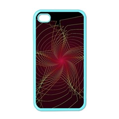 Fractal Red Star Isolated On Black Background Apple Iphone 4 Case (color)