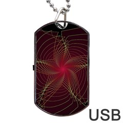 Fractal Red Star Isolated On Black Background Dog Tag USB Flash (One Side)