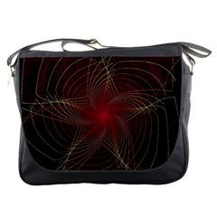 Fractal Red Star Isolated On Black Background Messenger Bags