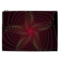 Fractal Red Star Isolated On Black Background Cosmetic Bag (xxl)