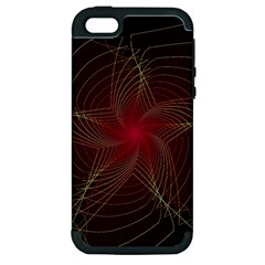 Fractal Red Star Isolated On Black Background Apple iPhone 5 Hardshell Case (PC+Silicone)