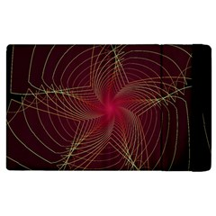 Fractal Red Star Isolated On Black Background Apple iPad 2 Flip Case