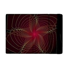Fractal Red Star Isolated On Black Background Apple Ipad Mini Flip Case