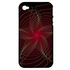 Fractal Red Star Isolated On Black Background Apple Iphone 4/4s Hardshell Case (pc+silicone)