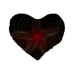 Fractal Red Star Isolated On Black Background Standard 16  Premium Heart Shape Cushions