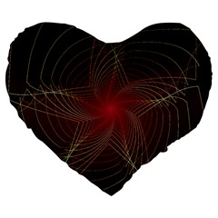 Fractal Red Star Isolated On Black Background Large 19  Premium Heart Shape Cushions