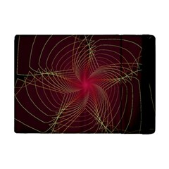 Fractal Red Star Isolated On Black Background Ipad Mini 2 Flip Cases