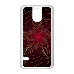 Fractal Red Star Isolated On Black Background Samsung Galaxy S5 Case (White)