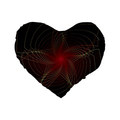 Fractal Red Star Isolated On Black Background Standard 16  Premium Flano Heart Shape Cushions