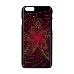 Fractal Red Star Isolated On Black Background Apple iPhone 6/6S Black Enamel Case