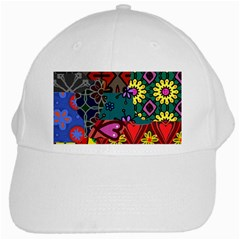 Digitally Created Abstract Patchwork Collage Pattern White Cap