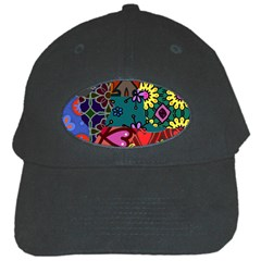 Digitally Created Abstract Patchwork Collage Pattern Black Cap