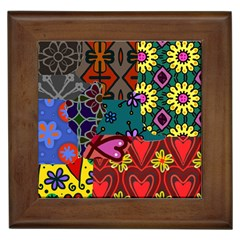 Digitally Created Abstract Patchwork Collage Pattern Framed Tiles