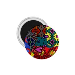 Digitally Created Abstract Patchwork Collage Pattern 1.75  Magnets
