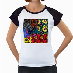 Digitally Created Abstract Patchwork Collage Pattern Women s Cap Sleeve T