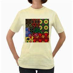 Digitally Created Abstract Patchwork Collage Pattern Women s Yellow T-Shirt