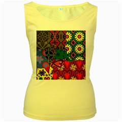 Digitally Created Abstract Patchwork Collage Pattern Women s Yellow Tank Top