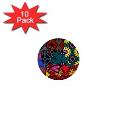 Digitally Created Abstract Patchwork Collage Pattern 1  Mini Buttons (10 pack)