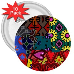 Digitally Created Abstract Patchwork Collage Pattern 3  Buttons (10 Pack)